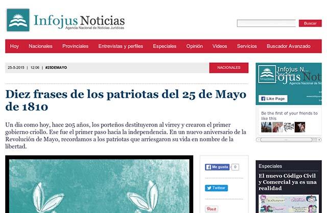 Infojus Diez Frases De Los Patriotas Del 25 De Mayo De 1810