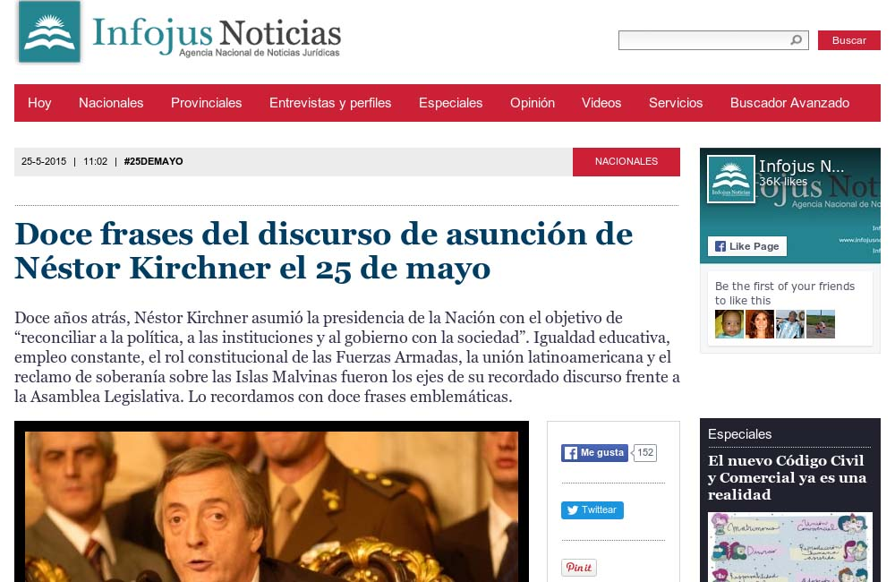 Infojus Doce Frases Del Discurso De Asunción De Néstor